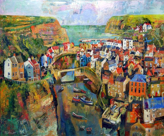 A view from Cowbar in the fishing village of Staithes. Always provides inspiration. Format: Limited edition Giclee printed on 310 gsm PH neutral fine art archival paper. Single mounted  The prints are signed & come with a certificate of authenticity. Print size: 40 x 48cm Mounted size: 52x 60cm