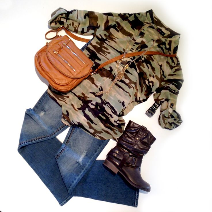 A more feminine take on camo: Juniors' Ultra Flirt Chiffon Top with Motorcycle boots (in-stores only)