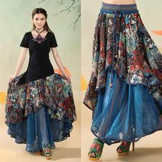 Women Long Blue Gypsy Skirt Bohemian Big Hem Hippie Layered Skirts National Trend Patchwork Saia Cigana Longa Faldas Largas