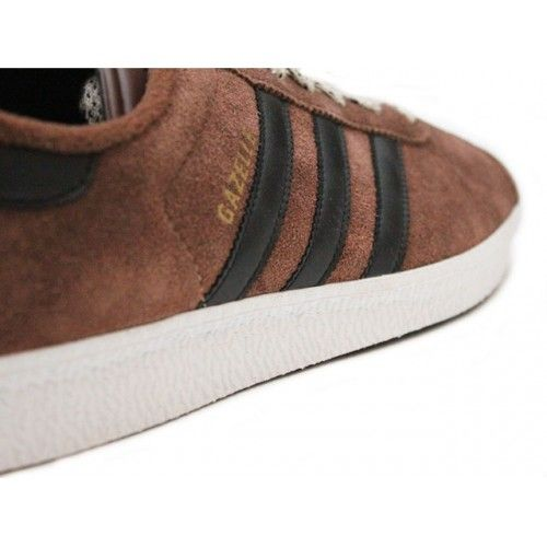 Adidas Gazelle Brown with Black Stripe.  The classic Adidas Gazelle sneaker was originally released in 1968 and now re-launched as Adidas Gazelle II. Made from soft suede leather upper, vulcanised rubber sole and reinforced toe for a stable fit.