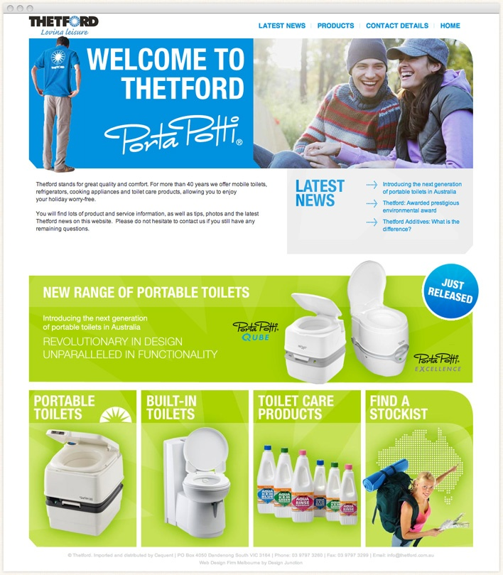 Thetford stands for great quality and comfort. For more than 35 years they have offered mobile toilets, refrigerators, cooking appliances and toilet care products.    Design Junction were commissioned to design and develop one of the company brands through the creation of a new website. Utilising the existing corporate style guide and design brief that was provided, we created an online web presence for this brand.