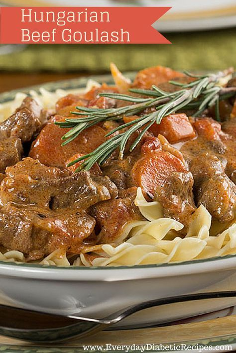Hungarian Beef Goulash - This diabetic-friendly recipe for goulash is hearty and beefy. Enjoy this healthier, comfort food classic!