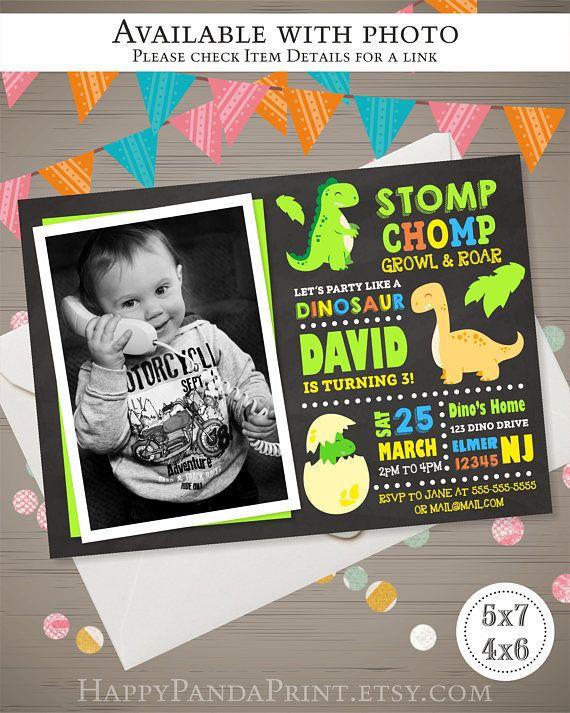 Dinosaur Invitation Birthday Dinasour First Party