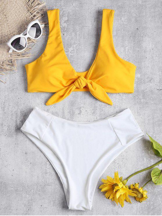 002680a706 Shop for Two Tone Tied High Waisted Bikini Set BEE YELLOW: Bikinis L at  ZAFUL. Only $18.49 and free shipping!#bikini #swimwear