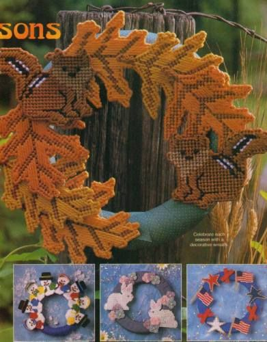 WREATHS-FOR-ALL-SEASONS-SQUIRREL-SNOWMEN-PLASTIC-CANVAS-PATTERN-INSTRUCTIONS