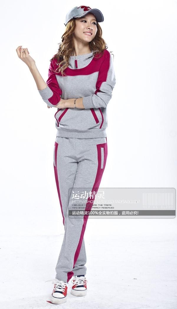 韩版春秋运动套装女款运动服纯棉修身显瘦运动休闲裤卫衣长裤薄款-淘宝网