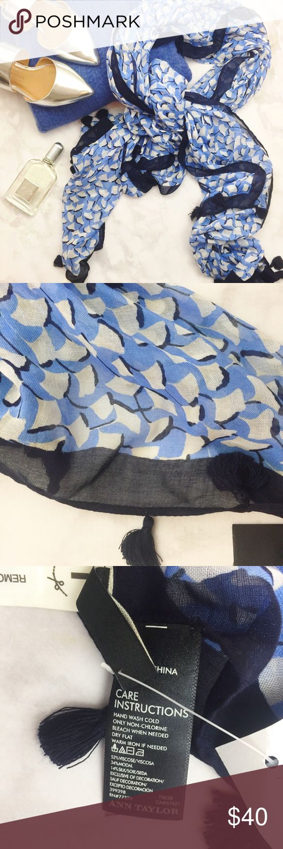 Leaf Print Scarf Large blue and white scarf in a leaf print and tiny tassels. NWT 07141607 Ann Taylor Accessories Scarves & Wraps