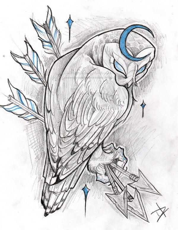 Não foi a intenção, mas daria um 3 de Espadas interessante. Cresent Moon Owl by JoshDixArt