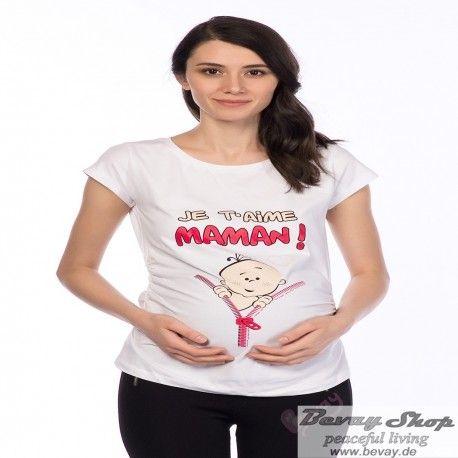 Stylische Umstandsmode Bevay  Umstandsmode - Bei Bevay finden Sie passgenaue Schwangerschaftsmode in tollen Designs.  Schwangerschaft T-Shirt mit Süßen aufdruck Je t`aime Maman  www.bevay.de
