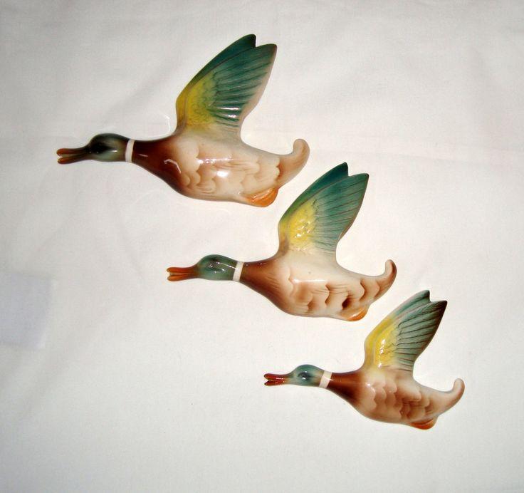 Set Of Three Keele Street Pottery 1950s Mallard Duck Wall