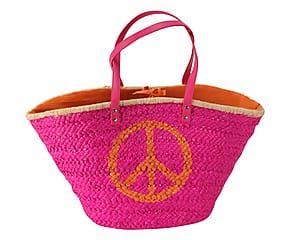 Strandtasche Peace, pink/braun/orange, 54 x 30 cm