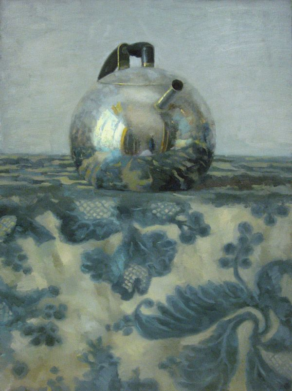 'Silver Teapot on Blue Floral' by Olga Antonova. Oil on canvas, 32 x 23.5 in.