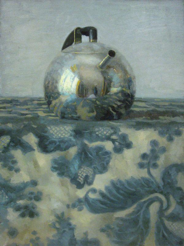 Silver Teapot on Blue Floral | Olga Antonova