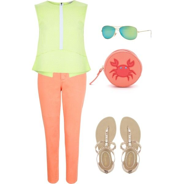Coral+lime by clers2009 on Polyvore featuring мода, River Island, NYDJ, NYLO, Kate Spade and Ray-Ban