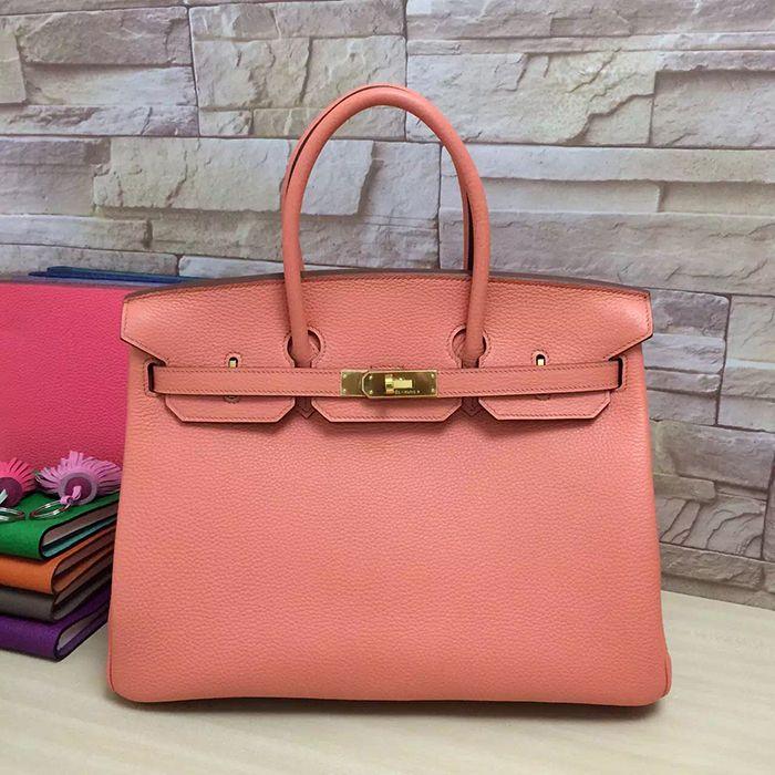 replica birkin bags - hermes crevette togo 35 cm birkin bag- salmon pink color, faux ...