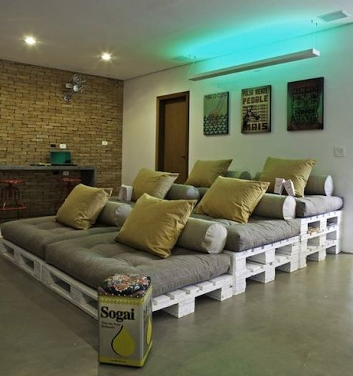 recycled wood pallet seating - I love this so much more for a home theater set-up than those cheesy looking recliners everyone buys.