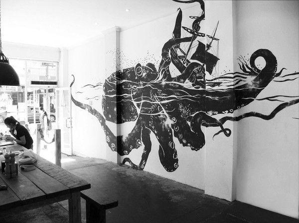 octopus hugging shipWall Art, Wall Decor, Wallart, Wall Murals, Crack, A Tattoo, Ships, Sea Monsters, Octopuses