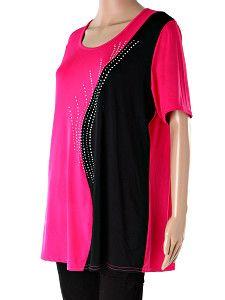Voľné ružové dámske tričko Donna  Jemné dámske ružovo-čierne tričko s kamienkami z príjemného padavého materiálu s krátkymi rukávmi. Tričko je voľné, veľmi pohodlné, vhodné aj pre tehotné ženy a nadmerné veľkosti.  http://www.yolo.sk/damske-tricka-bluzky-kratky-rukav/volne-damske-ruzove-tricko-donna