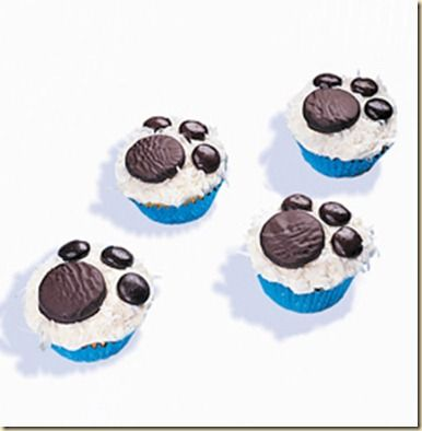 Bear paw print cupcakes using mini york peppermint patties and junior mints... Adorable!