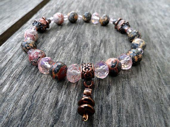 natural leopard jaspis crystal  beads bracelet by RasikaWorkshop