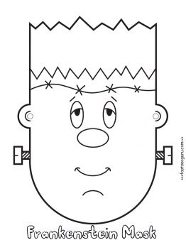 Printable #halloween #frankenstein #mask cut out coloring pages for kids. free online print out #Crafts for #Kids halloween frankenstein mask cut out coloring pages for childrens