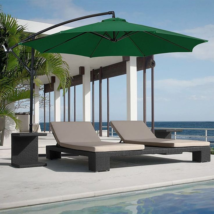 Large Patio Umbrella Rain Sun Canopy Free Standing 10 Ft Steel Pole Pool Beach  #BestChoiceProducts #MarketUmbrella