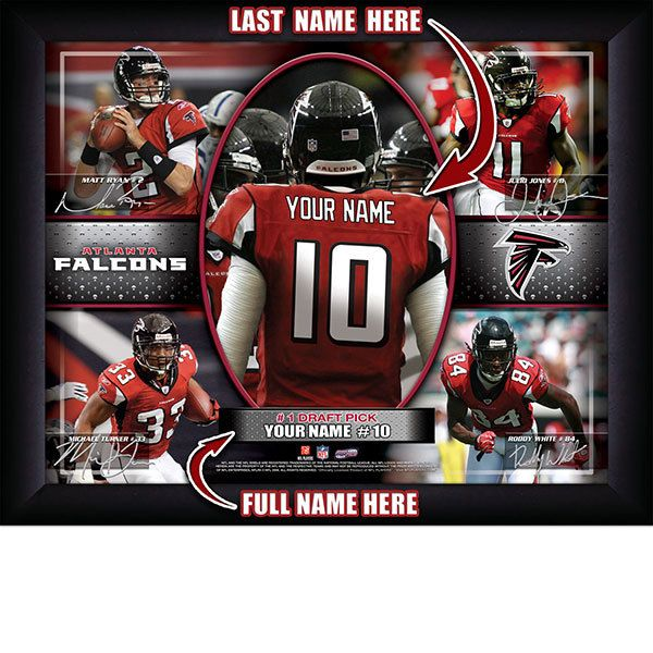 Atlanta Falcons NFL Football - Personalized Action Collage Print / Picture. Have you or someone you know ever dreamed about playing next to your favorite Atlanta Falcons players. You or someone you know can be right there in the locker room with Atlanta Falcons players! Optional framing with mat is available. Perfect for gifts, rec room, man cave, office, child's room, etc. ( www.oakhousesportsprints.com )