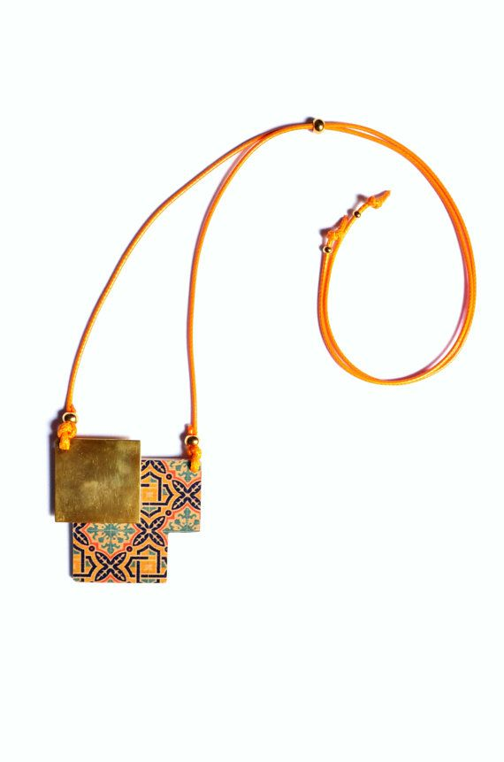 Geometric square printed wood necklace with gold by PROPSfashion