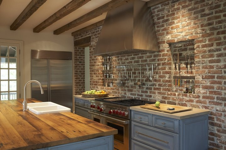 Brick Wall Kitchen Wood Countertop I Can Dream Home Pinterest