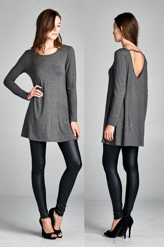 Semi-loose fit, long sleeve, round neck, tunic dress