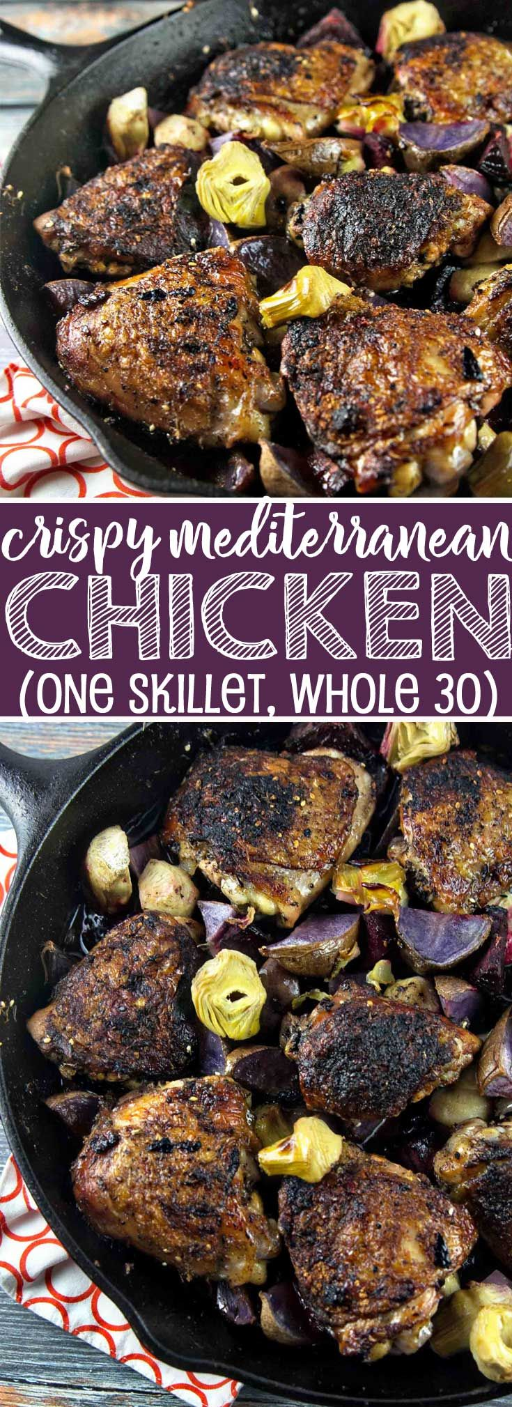 One Skillet Crispy Mediterranean Chicken roasted with beets and artichokes. Gluten free, paleo, and Whole 30 compliant. {Bunsen Burner Bakery} #dinner #chicken #glutenfree #paleo #whole30 via @bnsnbrnrbakery