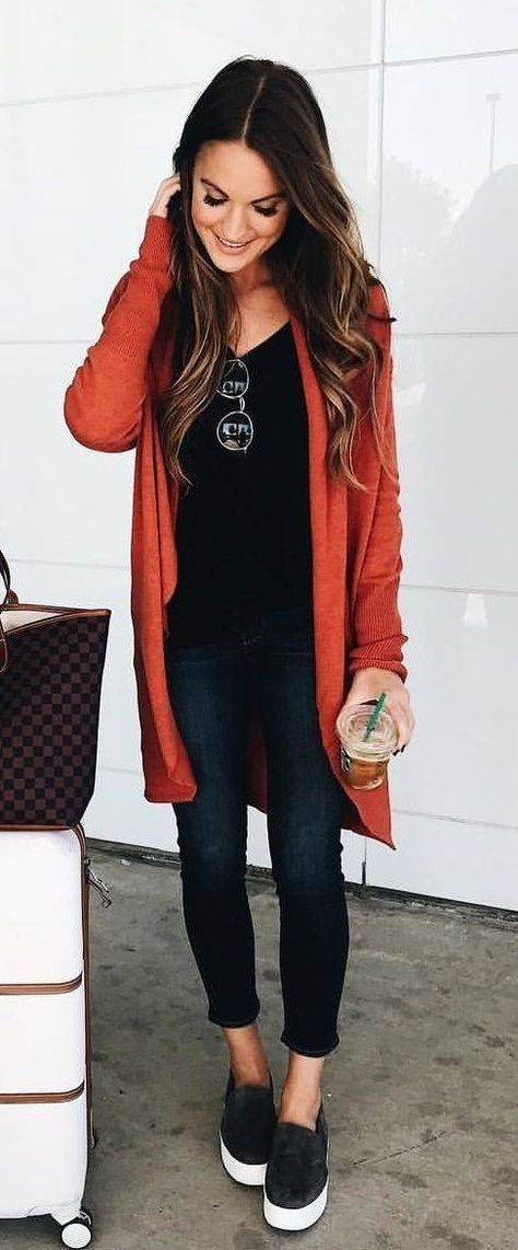 #winter #outfits red cardigan