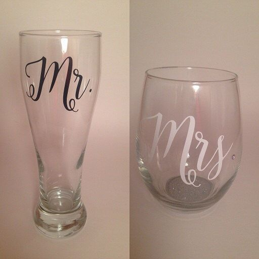 Mr & Mrs glass set, wedding wine glass and beer pilsner set, beer mug, wine glass, groom beer mug by TheGlitteryMermaid on Etsy https://www.etsy.com/listing/267445646/mr-mrs-glass-set-wedding-wine-glass-and
