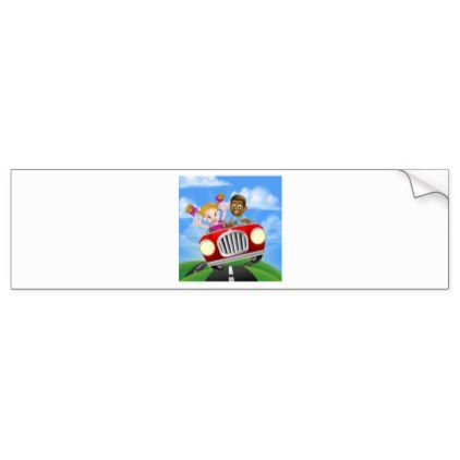 Cartoon Characters Driving Car Bumper Sticker - kids stickers gift idea diy decor birthday sticker children christmas gifts presents