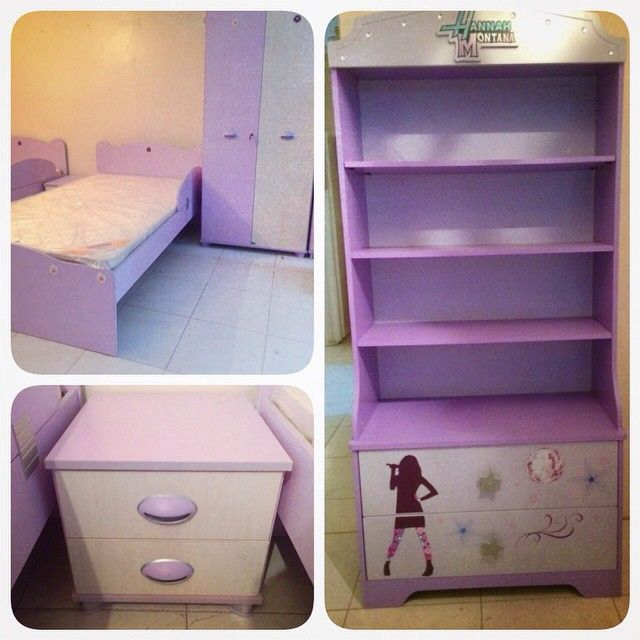 For Sale Girls Bedroom Pink 5 Pieces Bed Side Table Cabinet 2 Door Book Cabinet Matters In Good Condation Price 110 B Home Decor Furniture Decor
