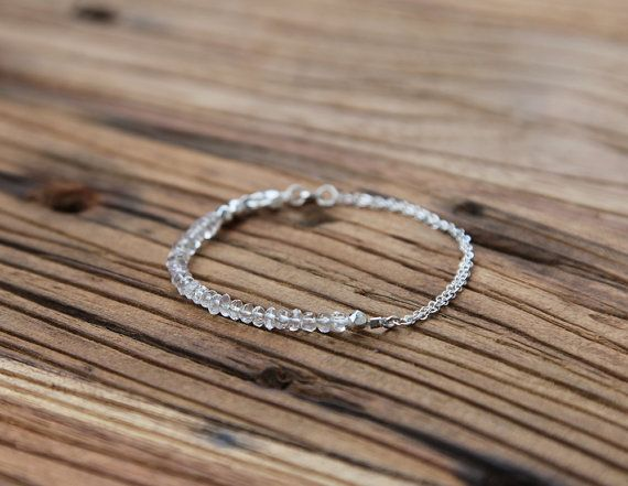 Beaded rock crystal and sterling silver bracelet