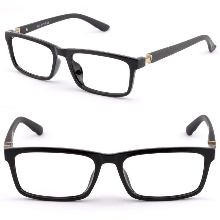Rectangular Men Plastic Frame Prescription RX Glasses Spring Loaded Hinges Black #Unbranded