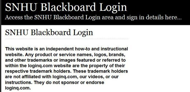 the SNHU Blackboard login here. Secure user login to SNHU Blackboard ...