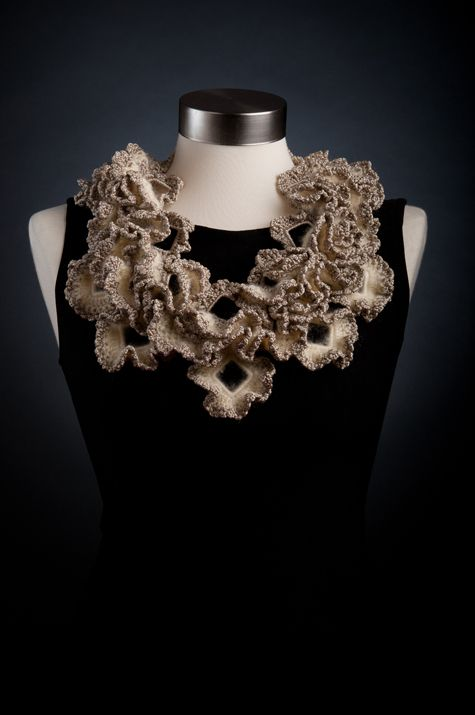 Textiles Jewellery - crocheted  knitted neckpiece inspired by sea coral; fabric jewelry design // Liat Rozin