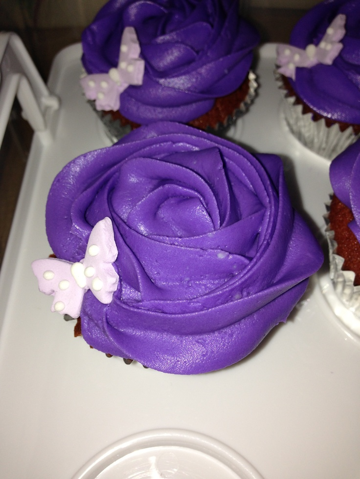 Purple Rose cupcakes- Red Velvet and cream cheese frosting