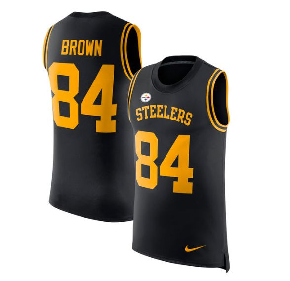 Pittsburgh Steelers Jersey - Antonio Brown Men's Black Vapor Untouchable Player Name & Number Tank Top