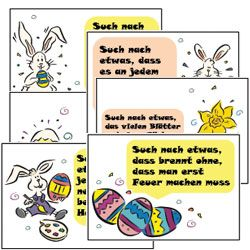 Knifflige Rätsel als Osterspiel gesucht? Hier eine aufregende Schnitzeljagd mit 30 Hinweisezetteln im hübschen Osterdesign: https://www.grapevine.de/pdf/schnitzeljagd-mit-dem-osterhasen