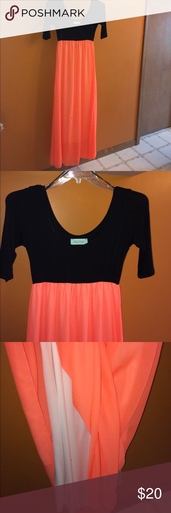 Filly Flair low scoop neck dress Very pretty, great condition. Never worn!! Low scoop neck in front and back, with 3/4 sleeves. Chiffon neon orange skirt, with black cotton material top. Dresses Maxi
