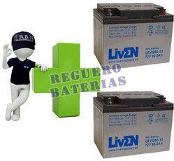 Conjunto de 2 baterías de GEL 12 Voltios 60 Amperios para Aplicaciones Ciclicas LIVEN LEVG60-12