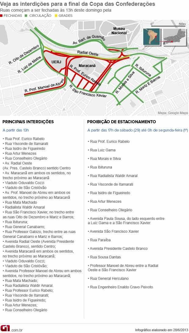 30-jun-13 - #RIO-Interdições no entorno do #MARACANÃ começam seis horas antes do jogo. Ao todo serão 19 ruas bloqueadas e com estacionamento proibido. Os ingressos do jogo servirão para embarcar de graça nos trens e metrô. G1.