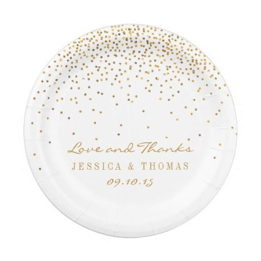 The Vintage Glam Gold Confetti Wedding Collection Paper Plate - confeti