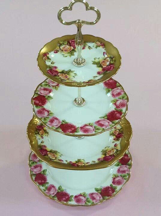 Roses and gold china cake tier, via Helen's Royal Tea House