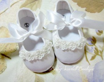 Baby Girl White Occasion Satin Fabric Christening Wedding Special Day Shoes