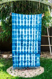 MAYDE x LEONARD & CO. SHIBORI TOWEL - SEISMIC 100% Cotton towel Indigo dye on white
