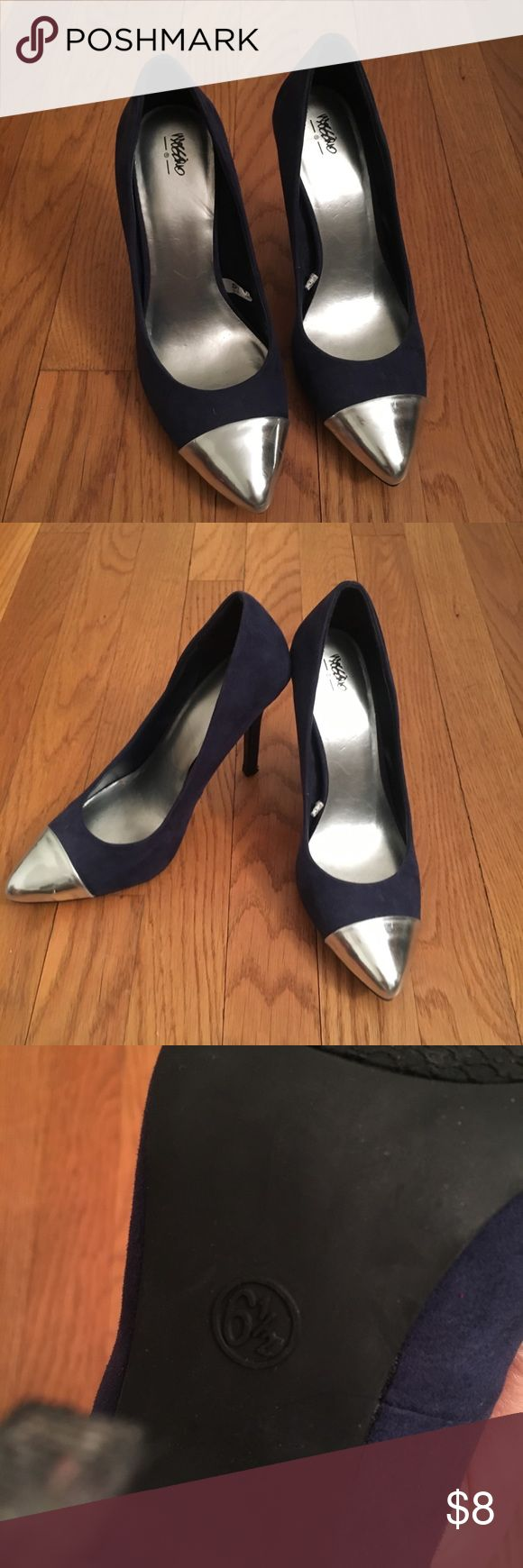 Navy with sliver heels Pointy toe in navy and sliver heels. Only tried on in the house Missoni for Target Shoes Heels